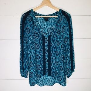 LUCKY BRAND Boho Peasant High Low Crochet Blouse L